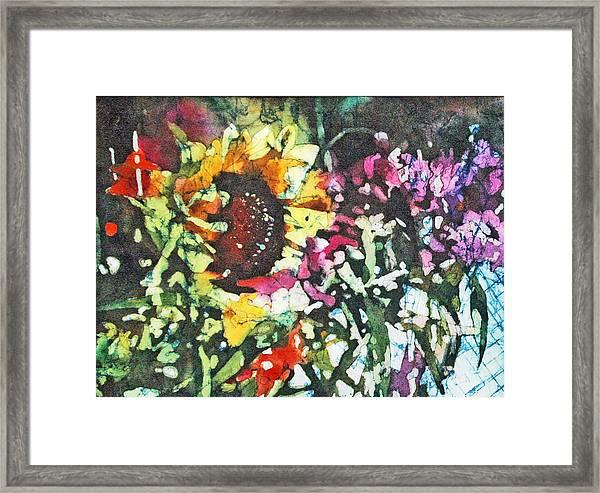 Batik Sunflower 1 Framed Print