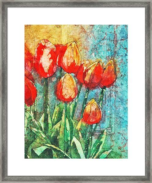 Batik Tulips Framed Print