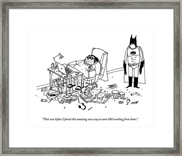 Batman Stands In The Filthy Room Of A Fat Framed Print by Edward Steed