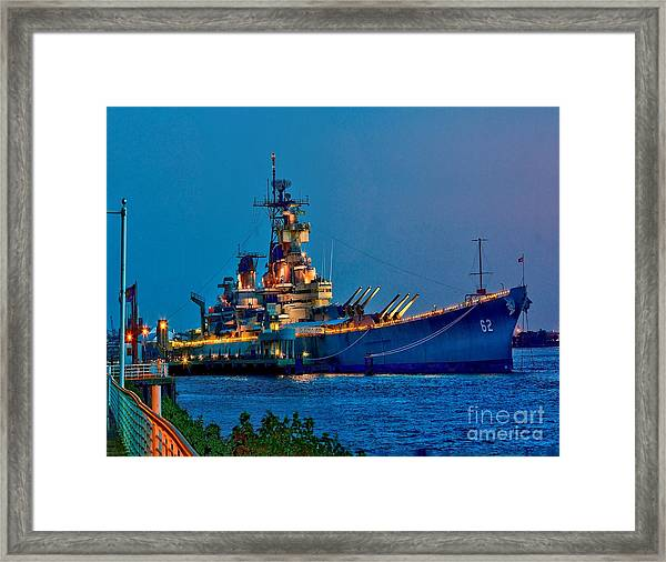Battleship New Jersey At Night Framed Print