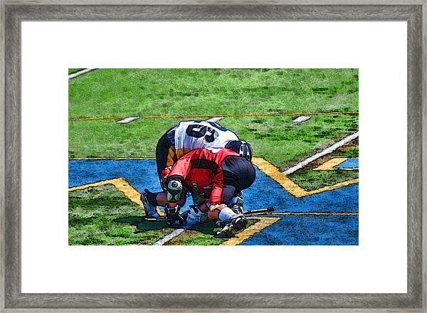 Battling For The Ball Framed Print by Joe Bledsoe