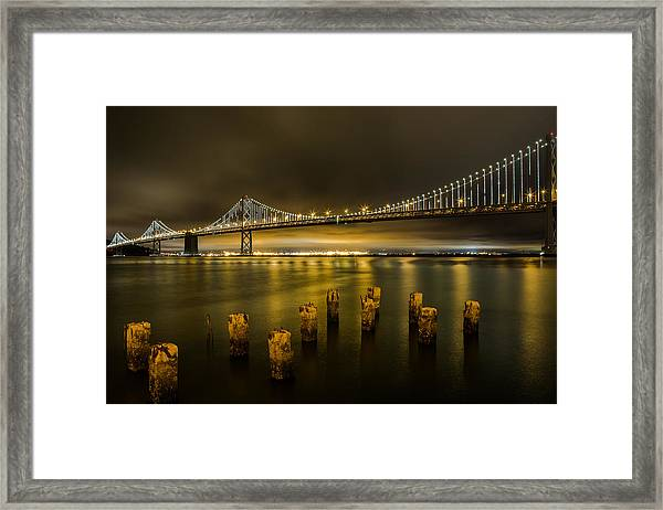 Bay Bridge And Clouds At Night Framed Print