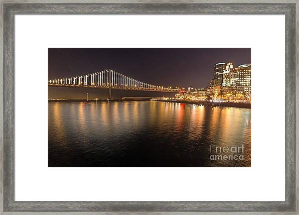 Bay Bridge Lights And City Framed Print