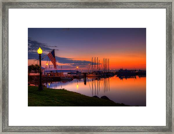 Bayfield Wisconsin Fire In The Sky Over The Harbor Framed Print