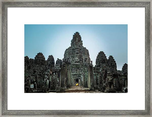 Bayon Temple And Buddhist Statue Framed Print