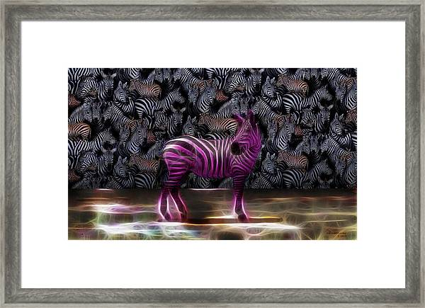 Be Courageous - Be Different - Zebra Framed Print