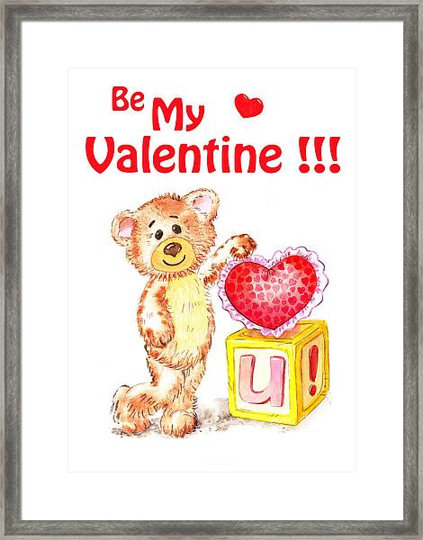 Be My Valentine Teddy Bear Framed Print