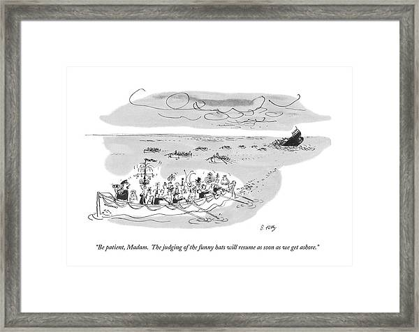 Be Patient, Madam.  The Judging Of The Funny Hats Framed Print
