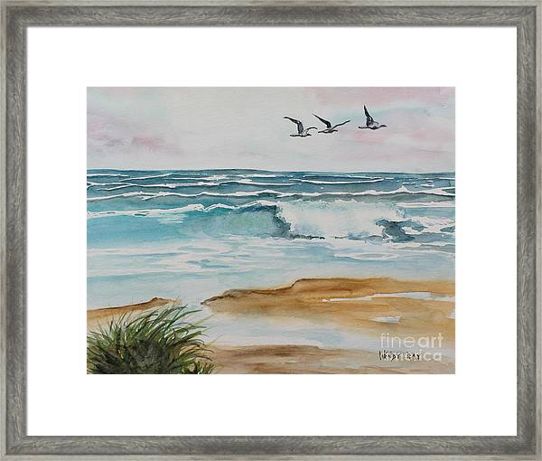Beach And Waves Framed Print
