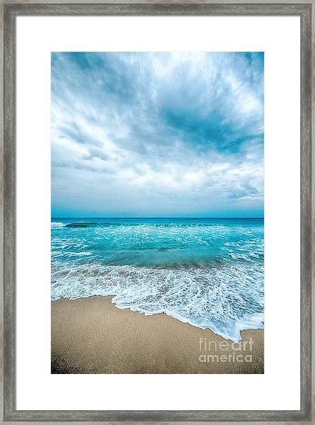Beach And Waves Framed Print