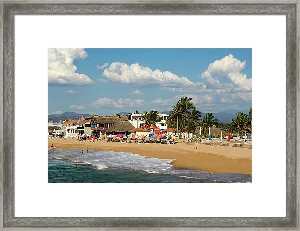 Beach At Village Of Barre De Navidad Framed Print