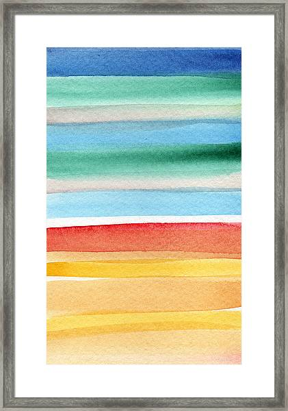 Beach Blanket- Colorful Abstract Painting Framed Print