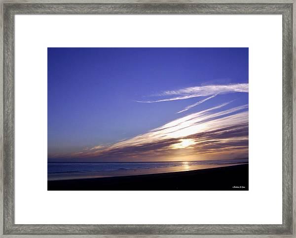 Beach Blue Sunset Framed Print