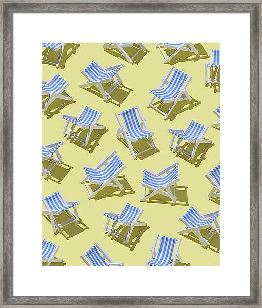 Beach Chairs On Yellow Ground, 3d Framed Print
