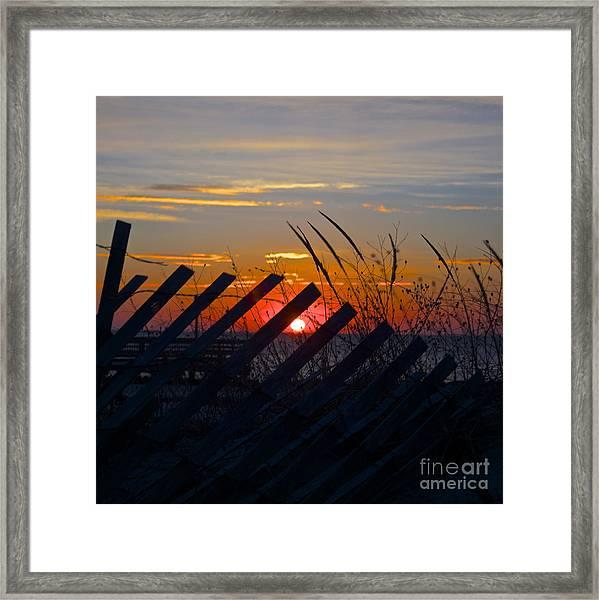 Beach Fence Framed Print