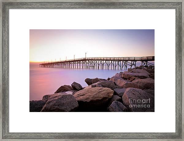 Beach Fishing Pier And Rocks At Sunrise Framed Print