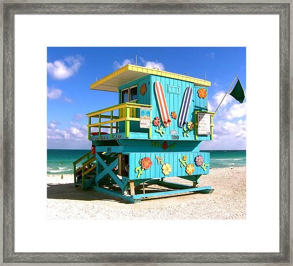 Beach Life In Miami Beach Framed Print