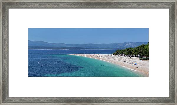 Beach Of Zlatni Rat Golden Horn And The Framed Print