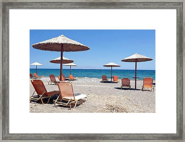 Beach On Santorini Framed Print