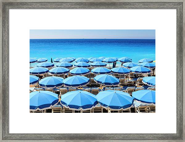 Beach Parasols, Nice Framed Print