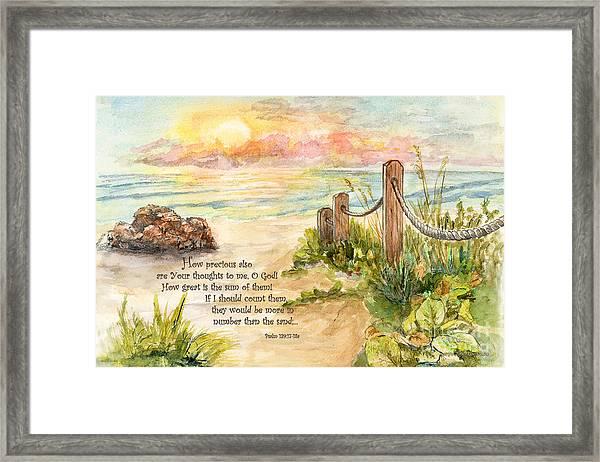 Beach Post Sunrise Psalm 139 Framed Print