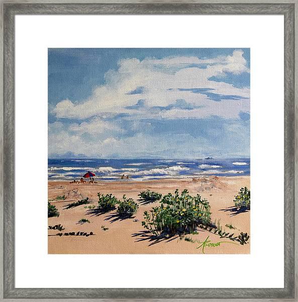 Beach Scene On Galveston Island Framed Print