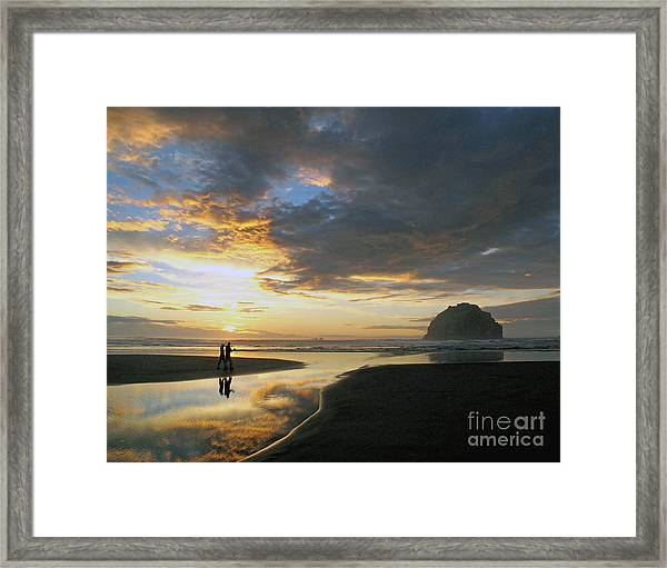 Bandon Beach Stroll Framed Print