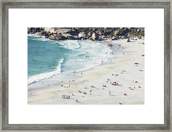 Beach With Swimmers Cape Town Framed Print by Michael Blann