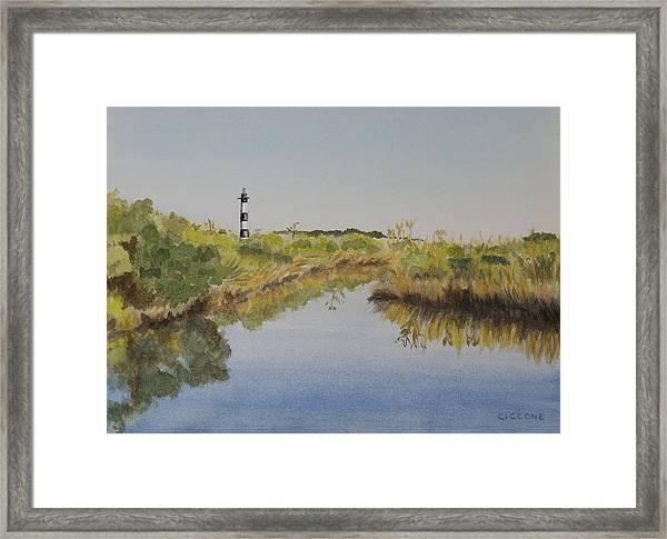 Beacon On The Marsh Framed Print