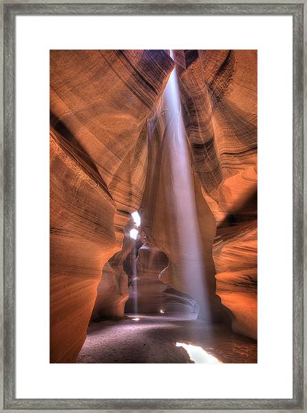 Antelope Canyon Light Beams Framed Print