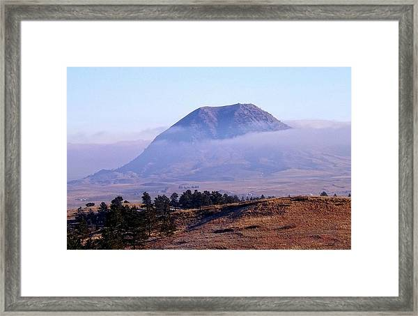 Bear Butte Fog Framed Print