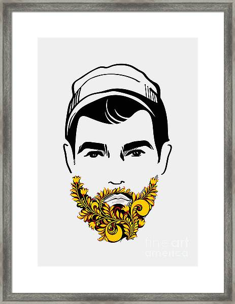 Beard And Mustache Man. Traditional Framed Print