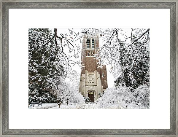 Beaumont Tower Ice Storm  Framed Print