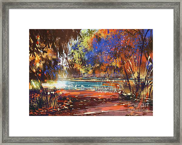 Beautiful Autumn Landscape With Flowers Framed Print