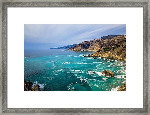Framed Print featuring the photograph Beautiful Big Sur With Bixby Bridge by Priya Ghose