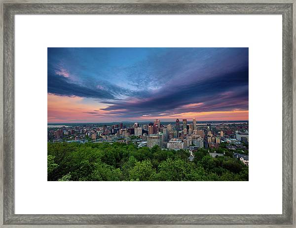 Beautiful Cloud Over The Montreal City Framed Print by D3sign