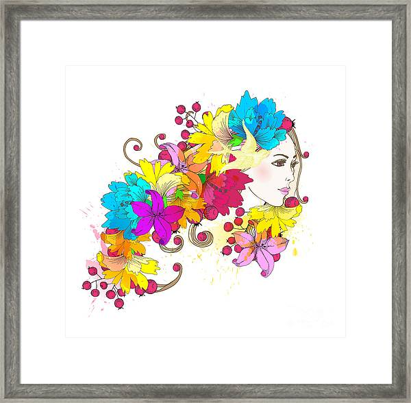 Beautiful Fashion Women With Abstract Framed Print