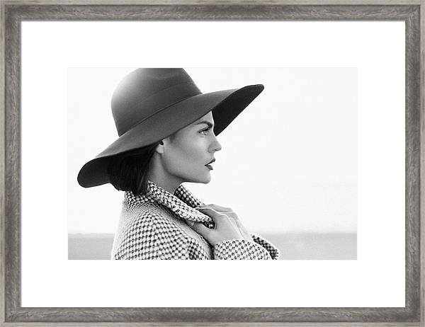 Beautiful Girl With Make-up, Dressed In Old-fashioned Coat And Hat Framed Print by CoffeeAndMilk