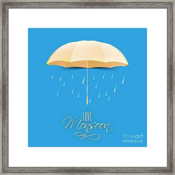 Beautiful Glossy Golden Umbrella On Framed Print by Allies Interactive