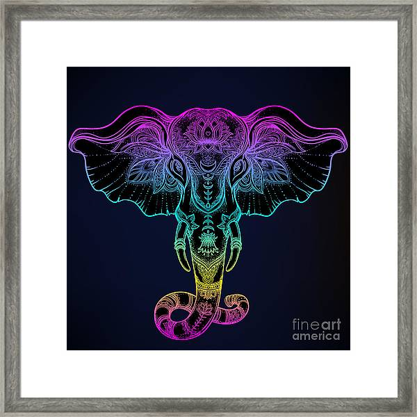 Beautiful Hand-drawn Tribal Style Framed Print by Gorbash Varvara