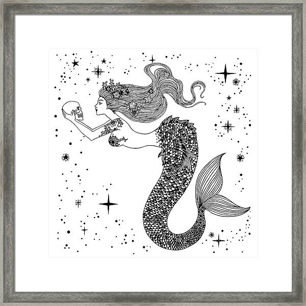 Beautiful Mermaid With Human Skull In Framed Print