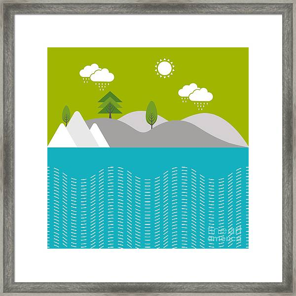 Beautiful Nature Background With River Framed Print