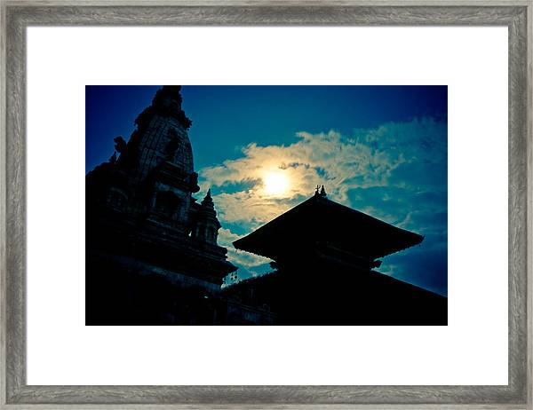 Beautiful Night Scene In Old Town Bhaktapur Framed Print