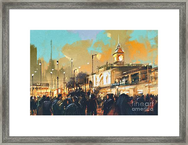 Beautiful Painting Of People In A City Framed Print