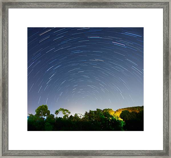 Beautiful Star Trails Above Tropical Framed Print