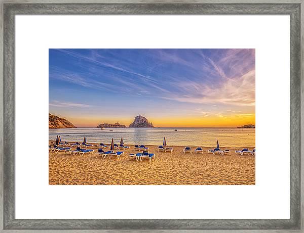 Beautiful Sunset Beach At Cala D´hort On Ibiza Framed Print by Juergen Sack