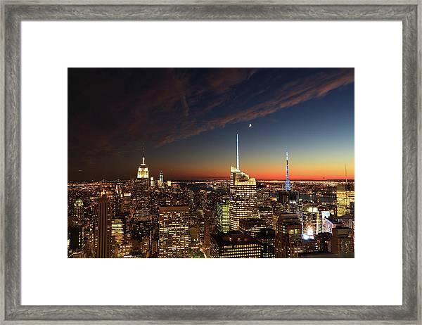 Beautiful Sunset Over New York City Xxxl Framed Print
