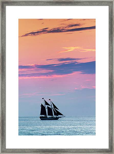 Beautiful Sunset Sail In Key West Framed Print