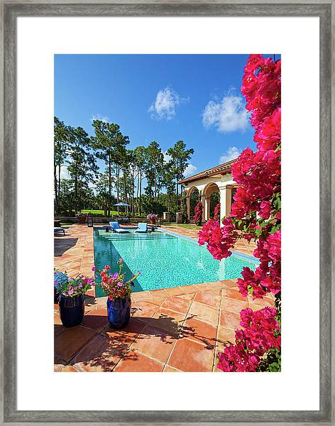 Beautiful Swimming Pool With Lounge Framed Print
