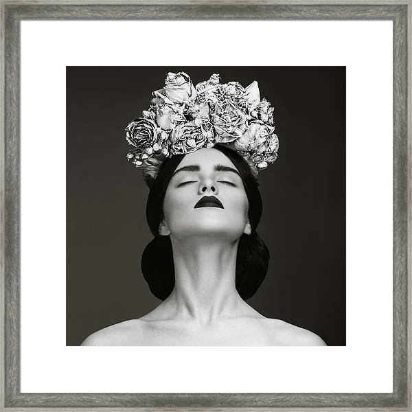 Beautiful Woman With Wreath Of Flowers Framed Print